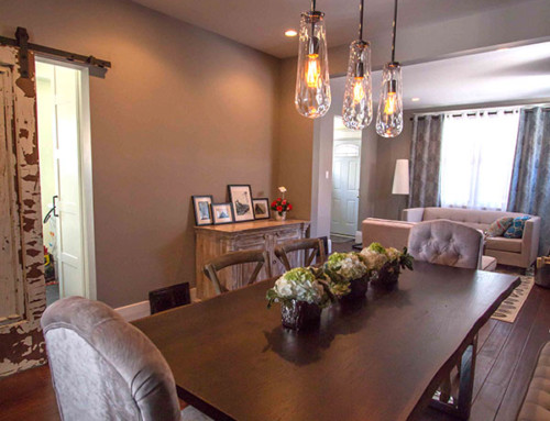 Emery dining room with sliding door into laundry room