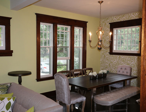 Dining room with dark wood trim