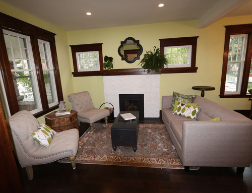 Living room with dark wood trim
